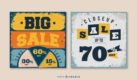 Pacote de banner quadrado de venda closeup