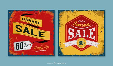 Garage Sale Vintage Banner Pack