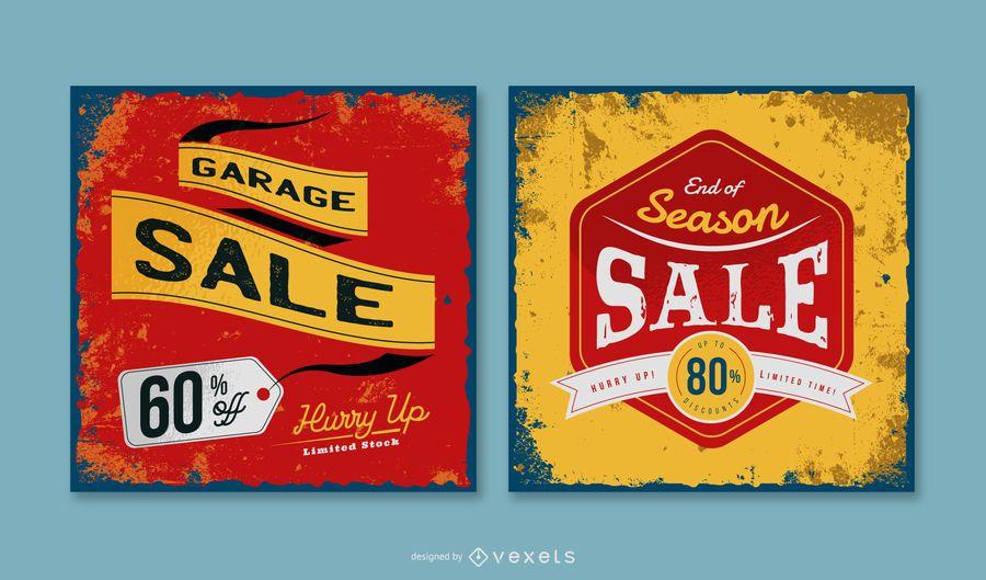 Garage Sale Vintage Banner Pack