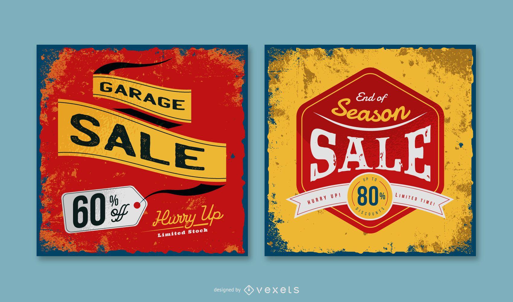 Pacote de banners vintage para venda de garagem