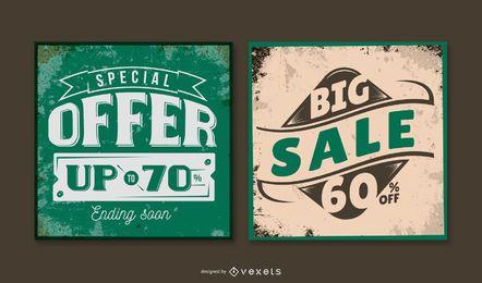 Paquete de banner vintage de gran venta