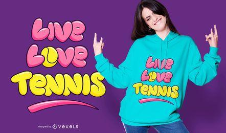 Diseño de camiseta de tenis de amor en vivo.