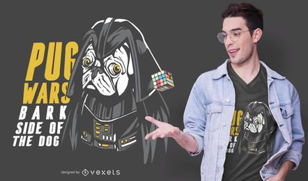 Diseño de camiseta darth pug