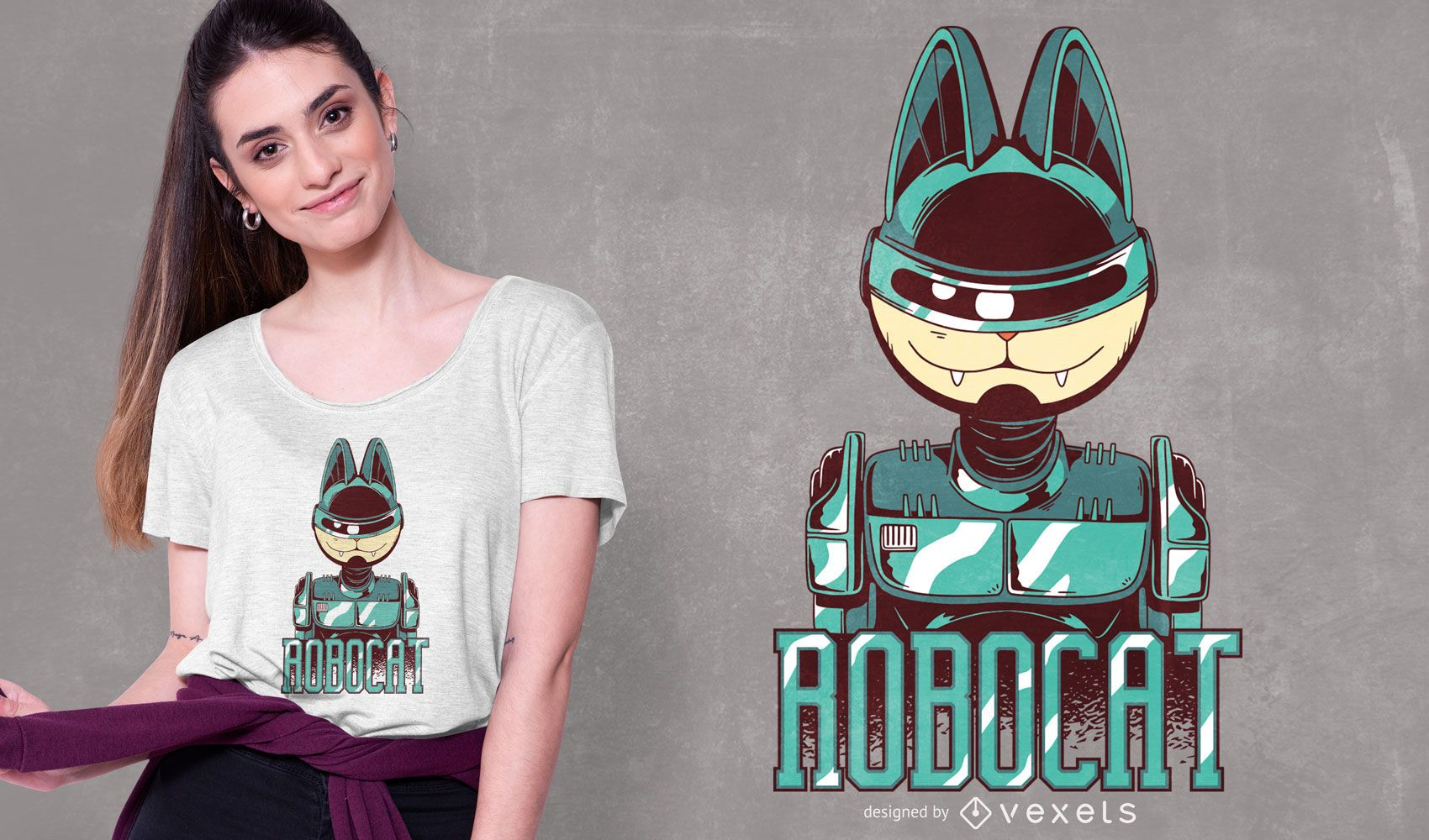 Diseño de camiseta Robocat