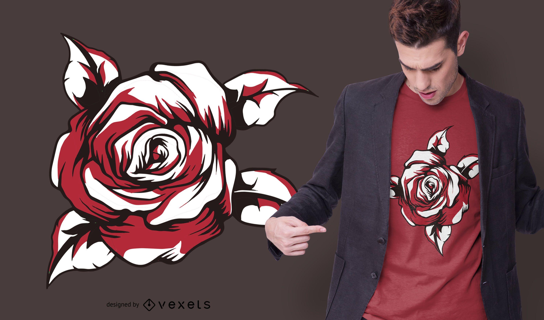 Design de camiseta rosa vermelha