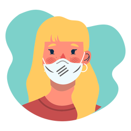 Covid 19 blonde girl character icon