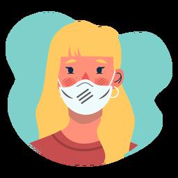 Covid 19 ícone de personagem de menina loira
