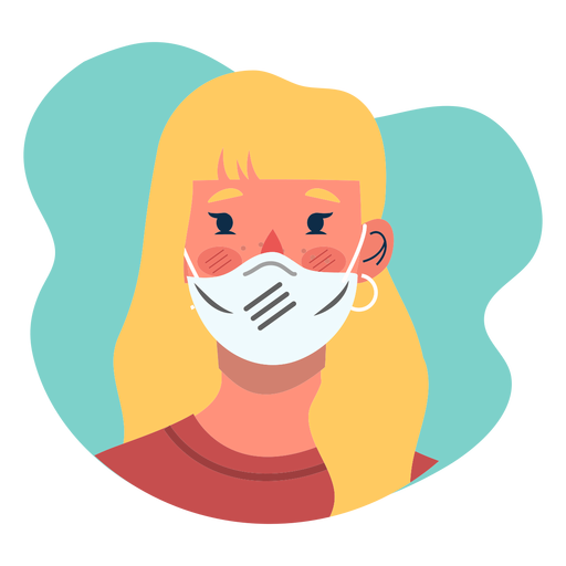 Covid 19 blonde girl character icon Transparent PNG