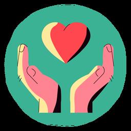 Icono de covid 19 corazón manos