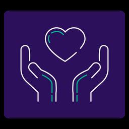 Covid 19 corazón icono de trazo de manos