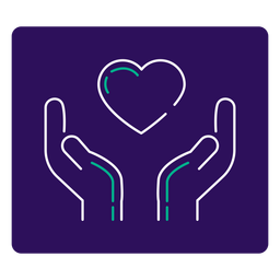 Covid 19 heart hands stroke icon