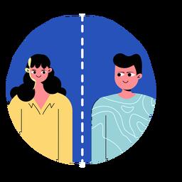 Covid 19 icono de personas de distanciamiento social