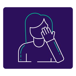 Covid 19 touching face stroke icon