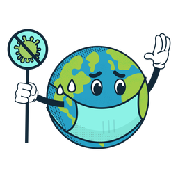 Covid 19 earth cartoon icon