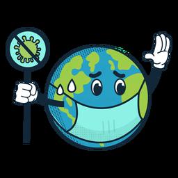 Icono de dibujos animados covid 19 tierra