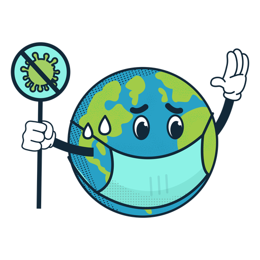 Covid 19 earth cartoon icon Transparent PNG