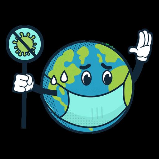 Covid 19 earth cartoon icon