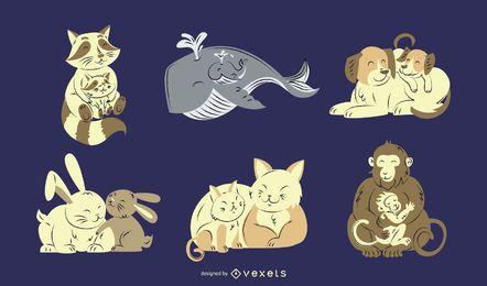 Conjunto de ilustrações de pais e bebês animais