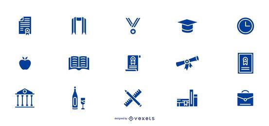 Colección de iconos de graduación