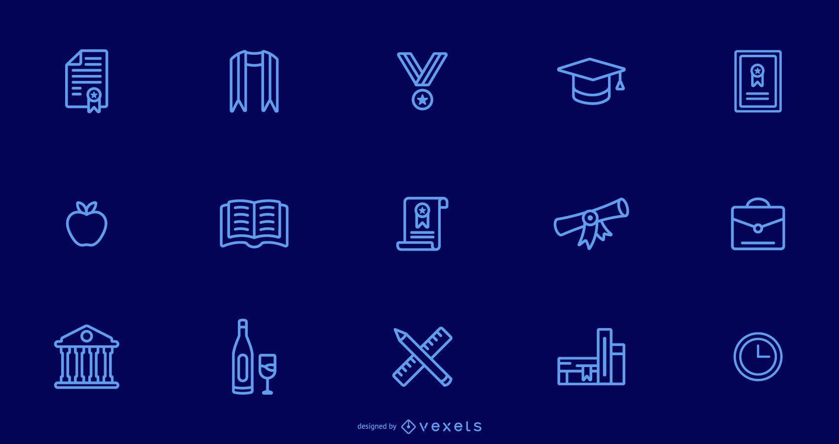 Colección de trazos de iconos de graduación