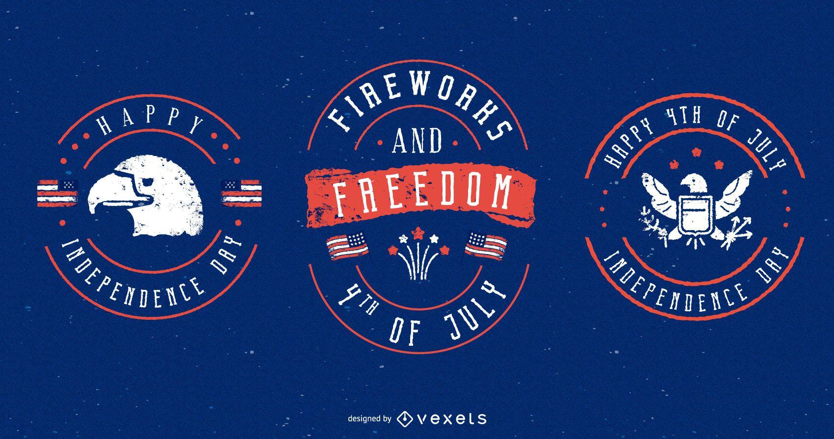 4th of july badges set