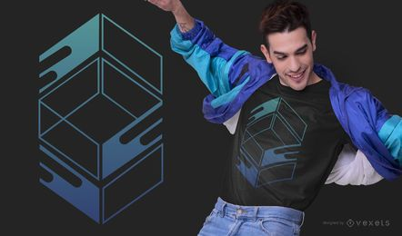 Abstract Blue Box T-shirt Design