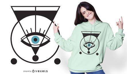 Diseño geométrico de camiseta de ojo