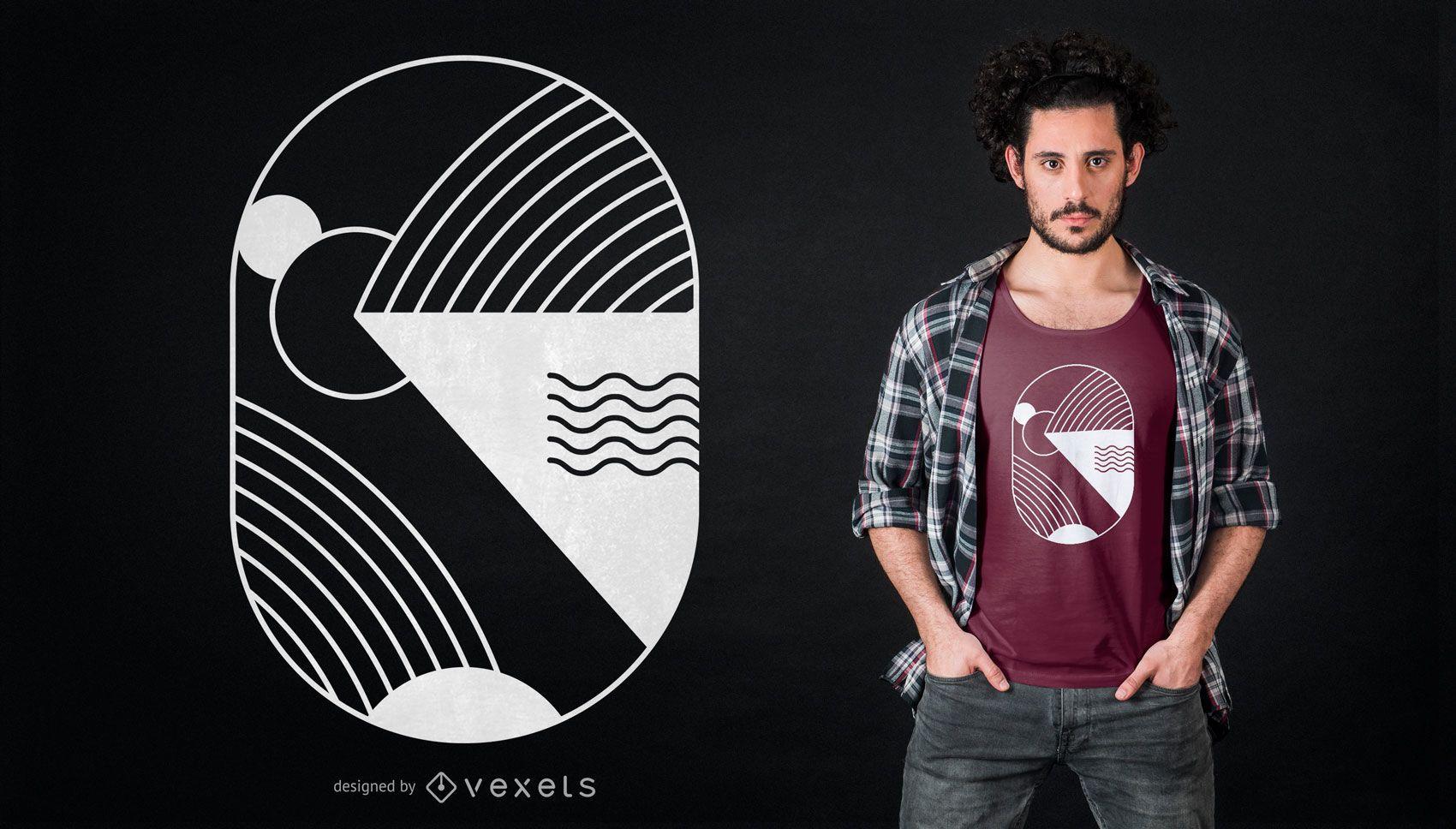 Diseño de camiseta abstracto mínimo
