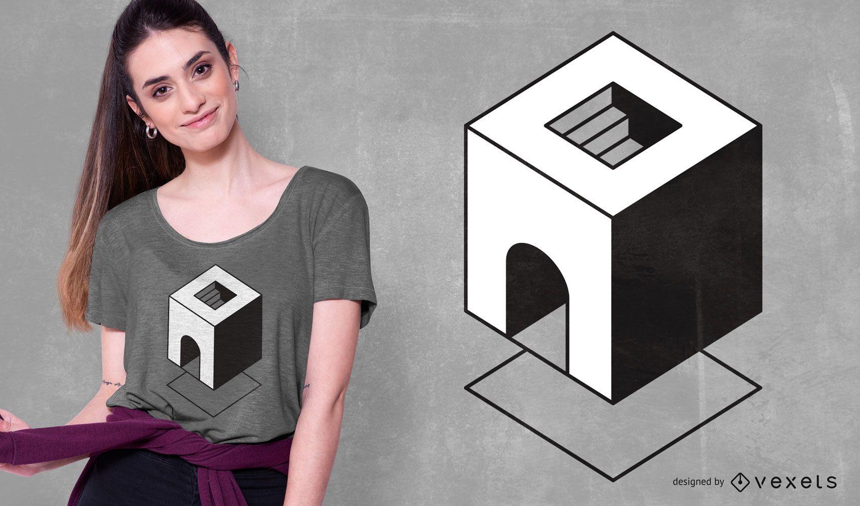 Design mínimo geométrico abstrato de camiseta