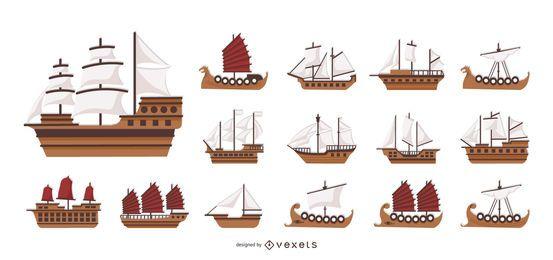 Colección de ilustraciones de barcos