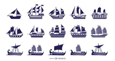 Boats blue illustration collection