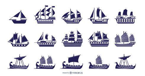 Colección de ilustración azul de barcos