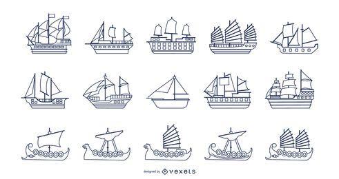 Coleção de braçadas de barcos
