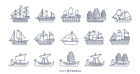 Coleção de traços de barcos