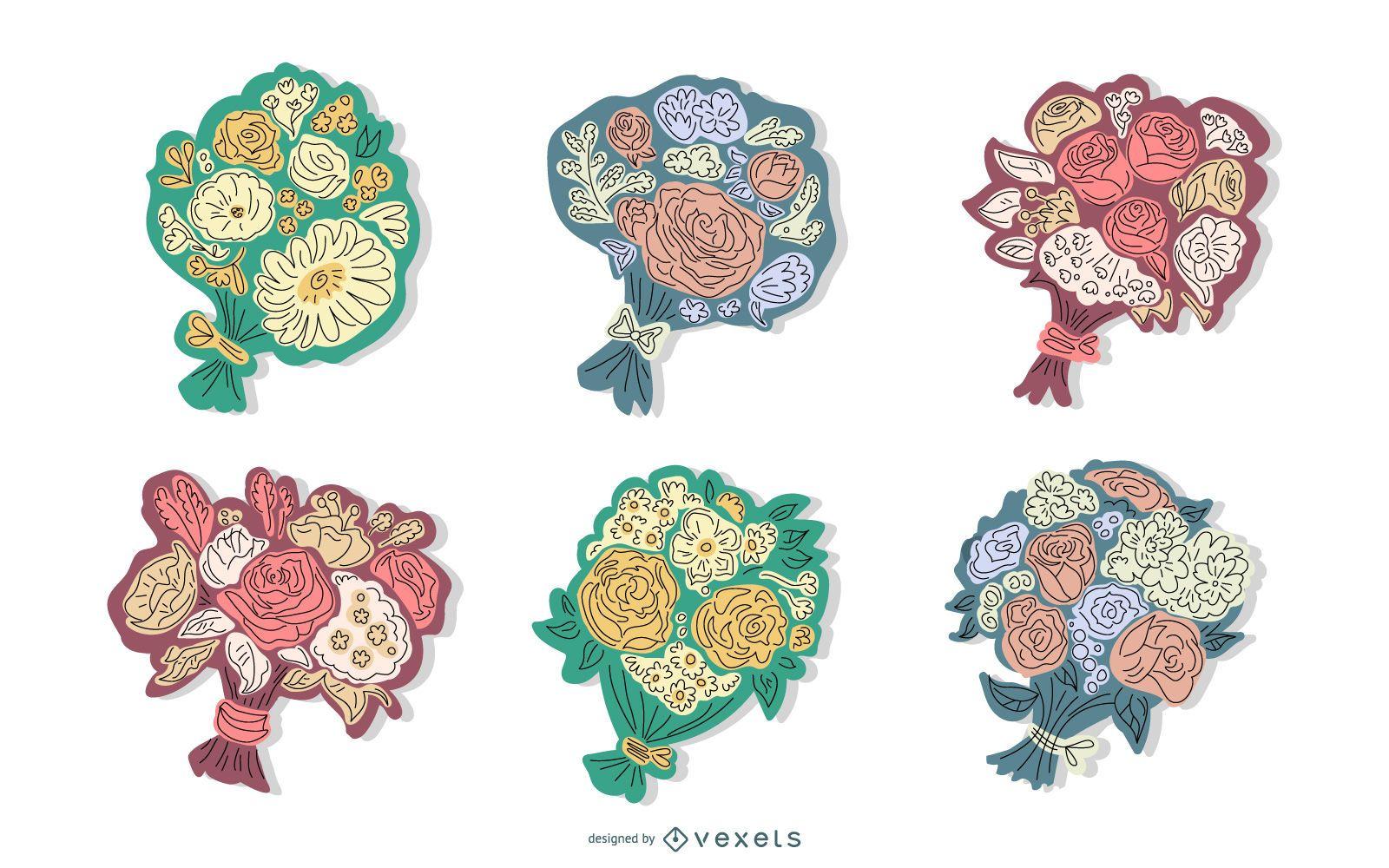 Conjunto de ilustración de ramo floral