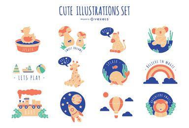 Conjunto de ilustração de crianças fofas