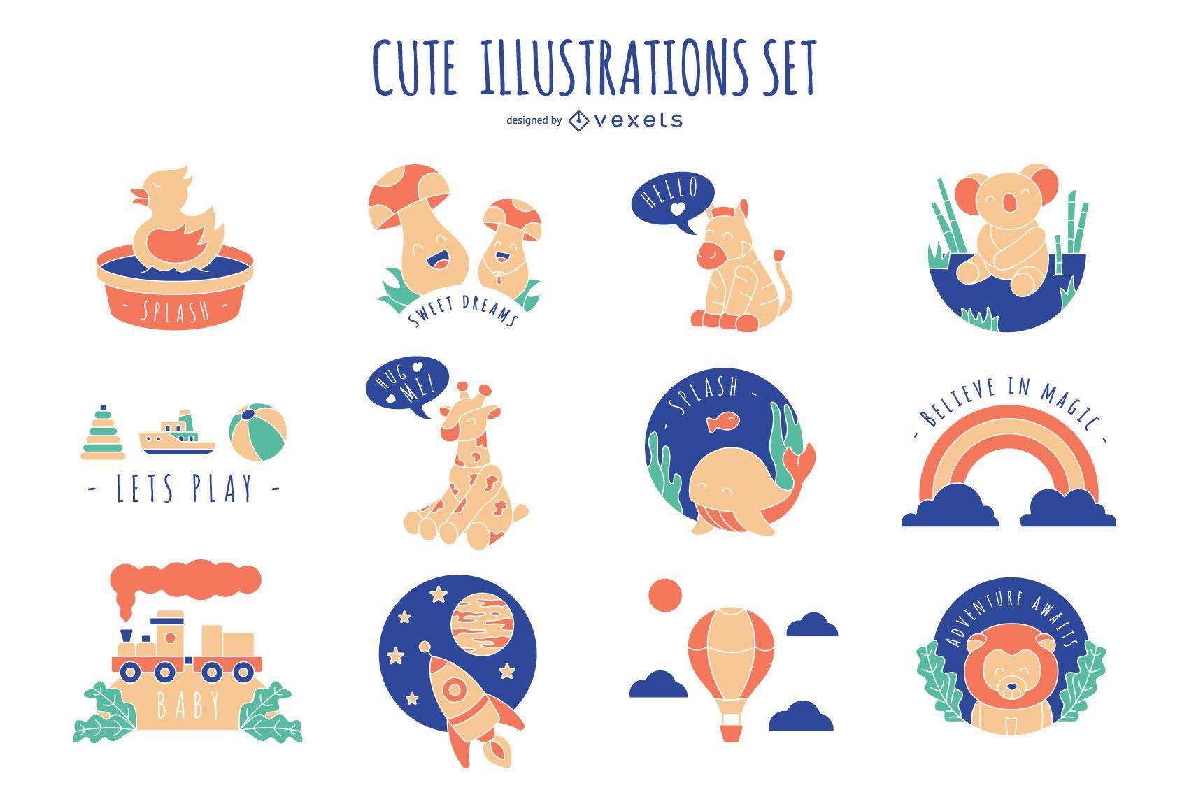 Cute Children Illustration Set
