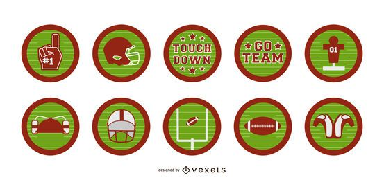 American football badge set