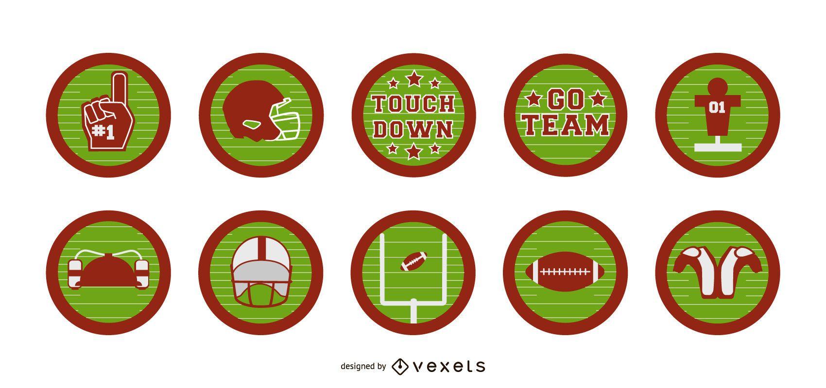 Conjunto de insignias de fútbol americano