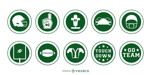 American football badges stroke set