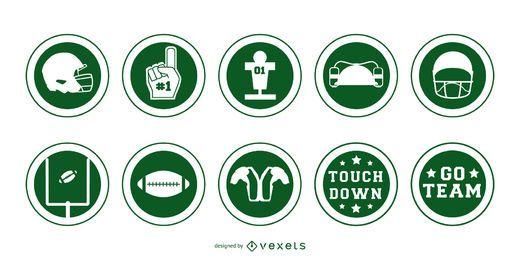 American football badges stroke set