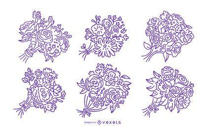 Conjunto de ilustração de traço de buquê floral