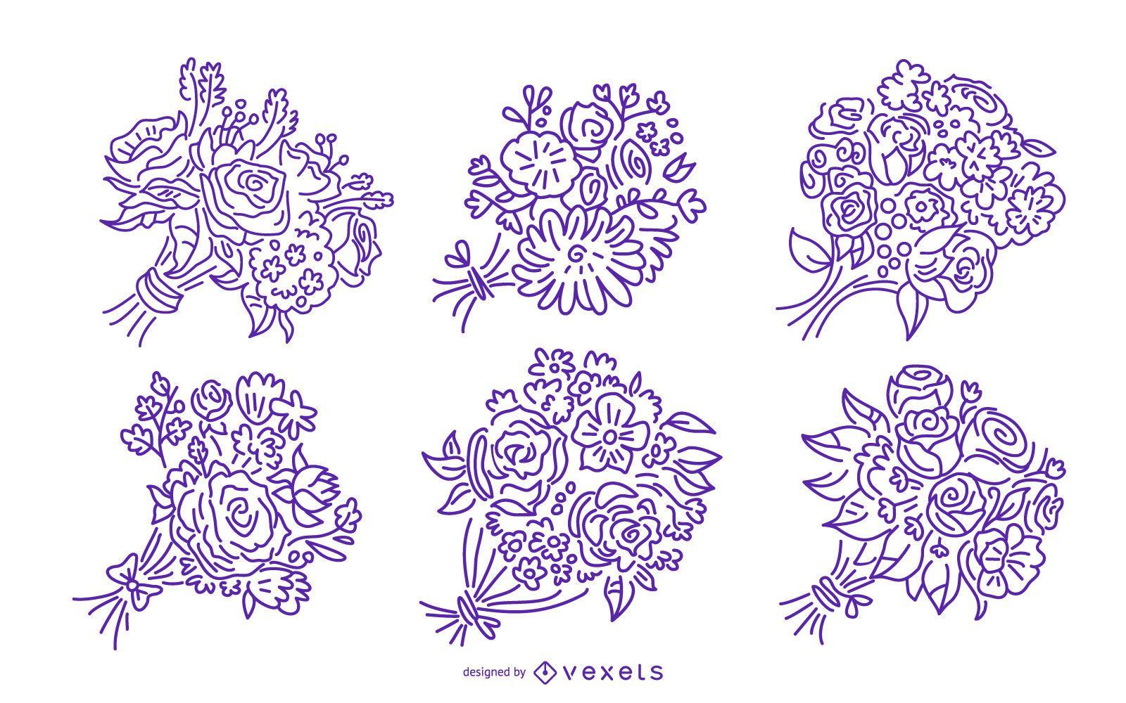 Floral bouquet stroke illustration set