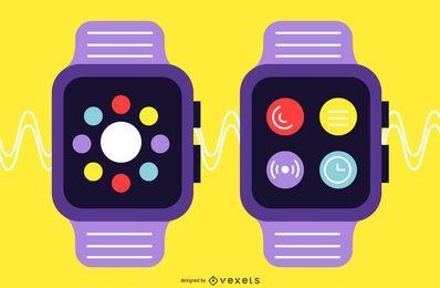 Conjunto de diseño plano Smartwatch