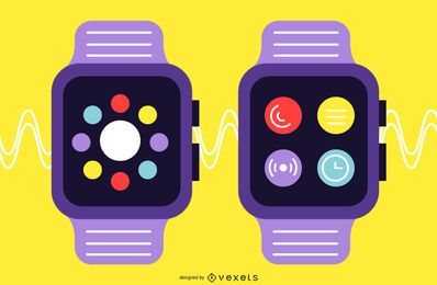 Smartwatch Flat Design Set