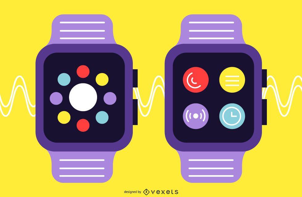 Smartwatch Flat Design Set