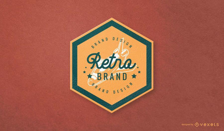 Diseño de logotipo de marca retro hexagonal