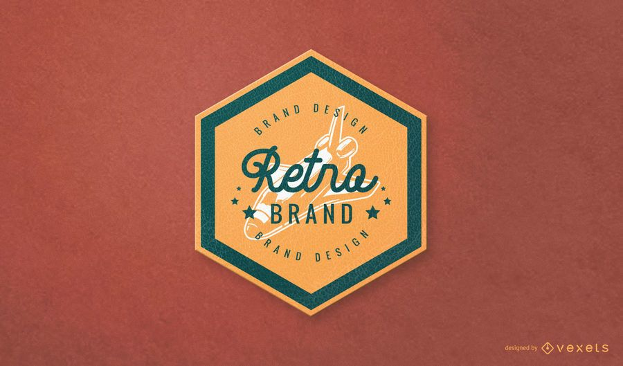 Hexagonal Retro Brand Logo Design