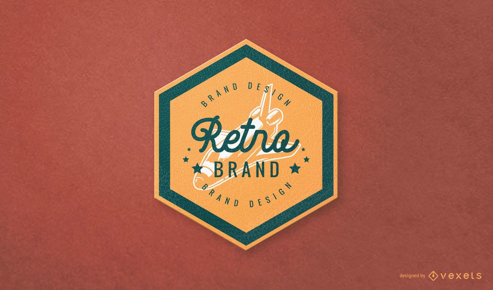 Design de logotipo de marca retro hexagonal