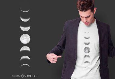 Design de t-shirt de fases da lua